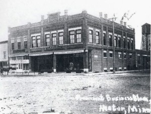 The original location of the Johnson Hardware Store, was erected on the corner of Main Street and Birch. Photo circa 1900's