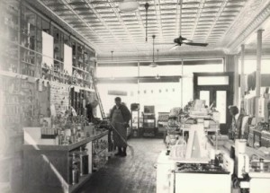 Inside the main floor of the Johnson Hardware store, early 1900's