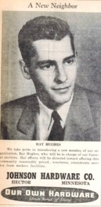 Welcome ad for Ray Hughes published in 1954.