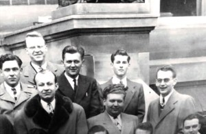 Hughes with member of his Mortuary Science graduation class, 1948. He is located in the middle row, last one on the right.